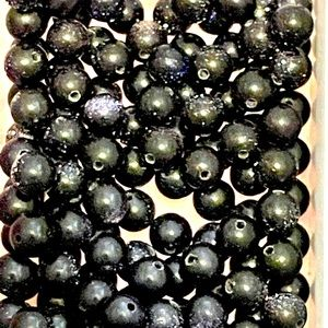 Lot of 6mm Blue Gold Stone Beads